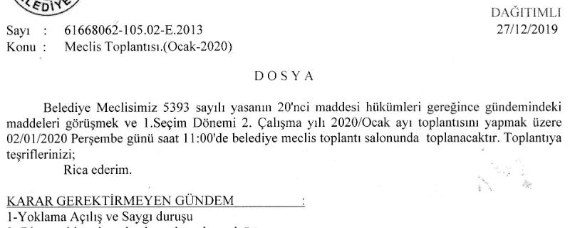 Meclis Toplantı İlanı (Ocak/2020)