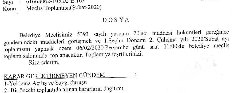 Meclis Toplantı İlanı (Şubat-2020)