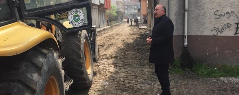 Hamam Sokakta Yol Yapım Çalışmaları Başladı