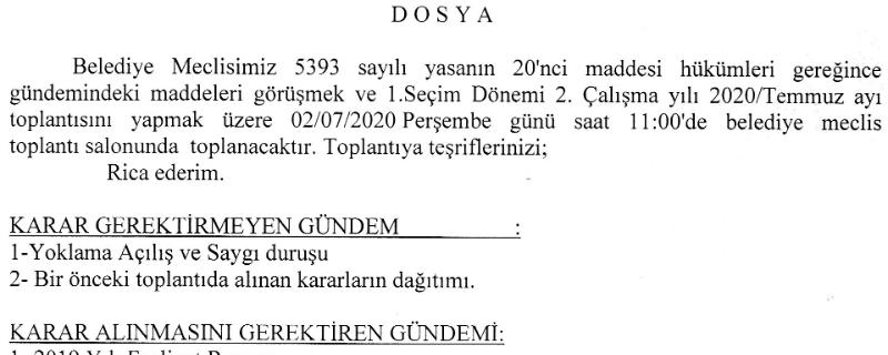 Meclis Toplantı İlanı (Temmuz-2020)