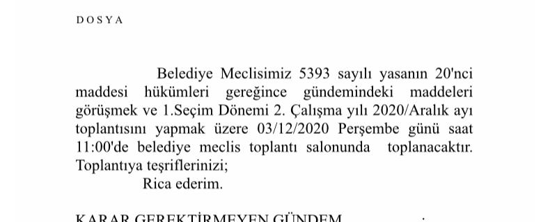 Aralık 2020 Meclis Toplantı ilanı