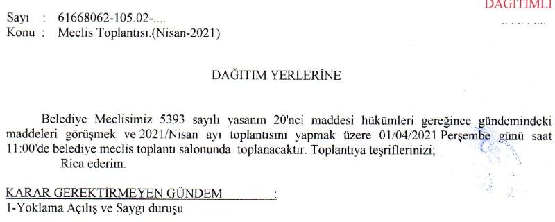 Nisan/2021 Meclis Toplan İlanı