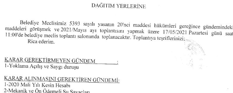Belediye Meclisimiz 17 Mayıs Pazartesi günü toplanacaktır
