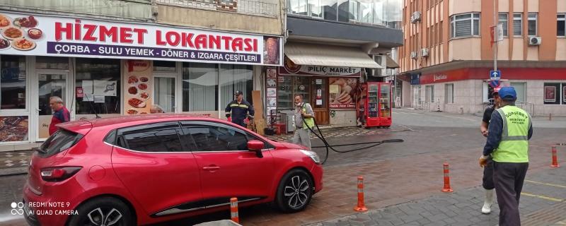 İlçemiz Cadde ve sokakları yıkanıyor